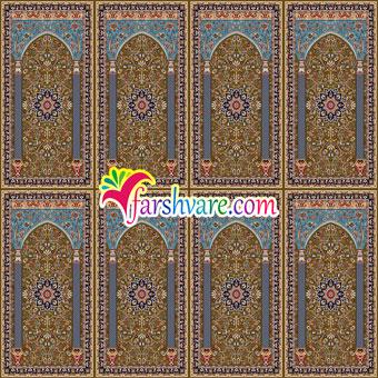 فرش نمازخانه ای محرابی ستاره کویر کاشان ؛ سجاده فرش مسجد با رنگ زمینهی قهوه ای