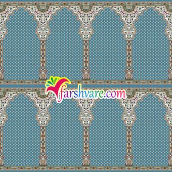 فروش اینترنتی سجاده فرش سجاده ای کاشان رنگ آبی طرح شمیم