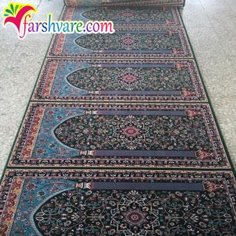 نمونهی بافته شدهی فرش سجاده ای ستاره کویر رنگ سبز
