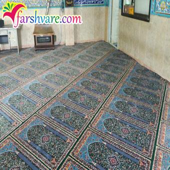 نمونهی بافته شدهی فرش سجاده ای مسجد ستاره کویر