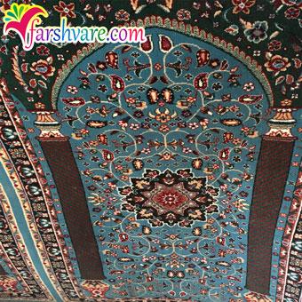 نمونهی بافته شده سجاده فرش آبی طرح ستاره کویر