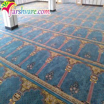 سجاده فرش بافته شده محرابی برای مسجد طرح خضرا آبی