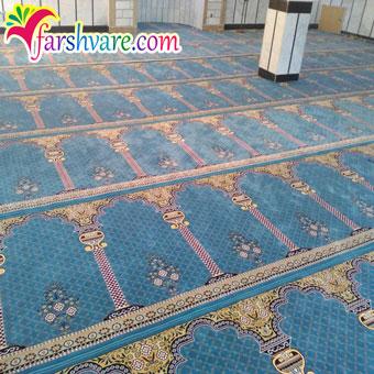 سجاده فرش محرابی بافته شده طرح خضرا آبی
