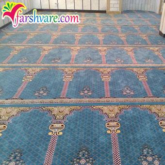 سجاده فرش مسجد محرابی بافته شده طرح خضرا آبی