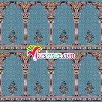 سجاده فرش نمازخانه ای محرابی رنگ آبی طرح خضرا
