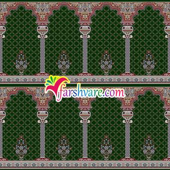 فرش سجاده ای مسجد محرابی طرح خضرا با رنگبندی سبز