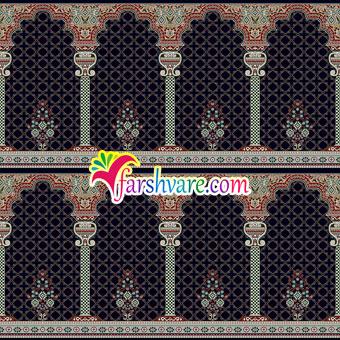 فرش سجاده محرابی مسجد رنگبندی سرمهای طرح خضرا