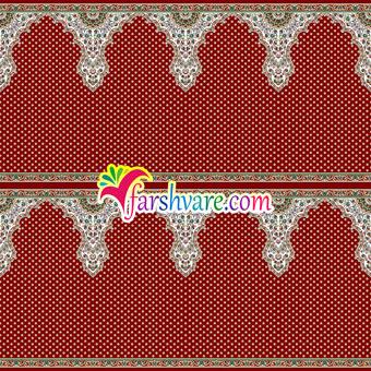 فرش ماشینی مسجد ؛ سجاده فرش محرابی طرح ثامن با رنگ قرمز روناسی
