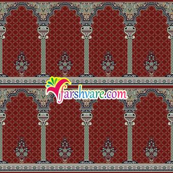 فرش مسجد محرابی طرح خضرا ؛ سجاده فرش ماشینی کاشان با رنگبندی قرمز روناسی