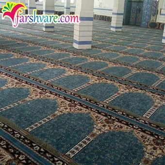 نمونهی بافته شده جهت فروش سجاده فرش سجاده ای طرح آسایش با رنگ آبی
