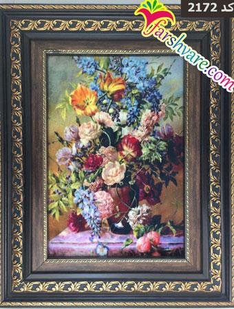تابلو فرش ماشینی گل و گلدان