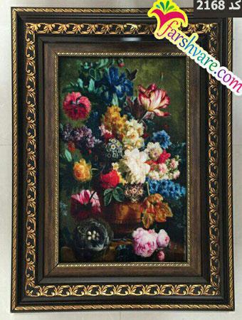 تابلو فرش گلدان و گل ماشینی چاپی