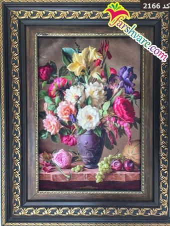 تابلو فرش گل ماشینی چاپی