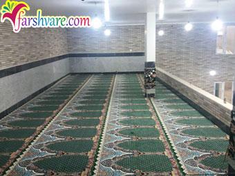 سجاده فرش مسجد با فرش سجاده ای سبز طرح محتشم