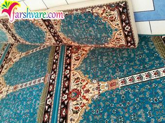 مسجد فرش شده با طرح آسایش آبی فیروزهای