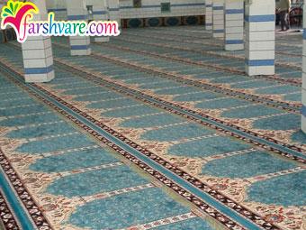 مسجد فرش شده با طرح آسایش رنگ آبی