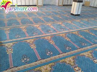 نمونهی فرش شدهی سجاده فرش مسجد محرابی طرح خضرا آبی فیروزهای