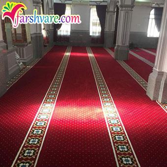 نمونهی بافته شدهی سجاده فرش تشریفاتی مسجد با رنگ روناسی