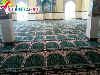 نمونه فرش مسجد فروش فرش سجاده طرح آسایش رنگ سبز