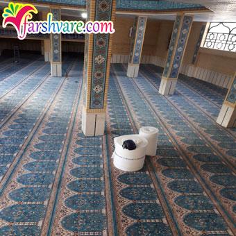 نمونه مساجد مفروش شده جهت خرید سجاده فرش محرابی طرح طاها آبی
