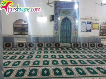 نمونه مسجد مفروش شده با فرش سجاده ای مسجد سبز