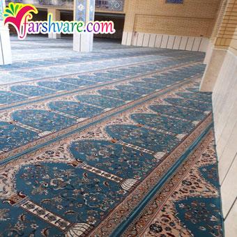 نمونه مسجد مفروش شده جهت خرید سجاده فرش طرح طاها آبی