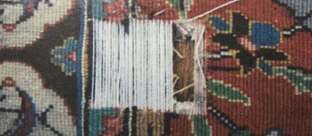 پارگی نخ تار در فرش سجاده ای