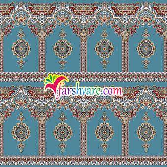 سجاده فرش مسجدی جدید آبی فیروزهای طرح بارگاه