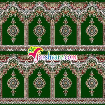 فرش مسجدی جدید رنگ سبز طرح بارگاه