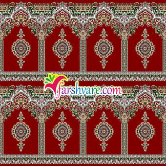 فرش مسجدی کاشان رنگ قرمز روناسی طرح بارگاه