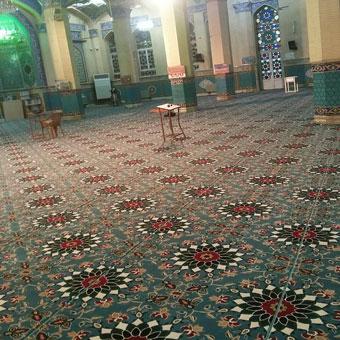 نمونه بافته سجاده فرش تشریفاتی برای مسجد طرح کاشیکاری آبی