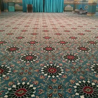 نمونه بافته شده سجاده فرش تشریفاتی برای مسجد طرح کاشیکاری آبی