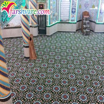 نمونه بافته شده فرش سجاده تشریفاتی مسجد طرح کاشیکاری