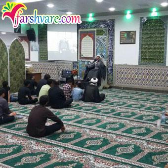 نمونه بافته شده فرش مسجدی سبز طرح بارگاه