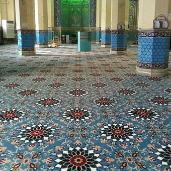 نمونه سجاده فرش تشریفاتی برای مسجد طرح کاشیکاری آبی